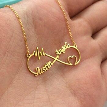 aa2851e0fcb2 Nombre personalizado Collar personalizado Boho infinito corazón doble placa  colgante collares para mujeres Colar joyería de acero inoxidable