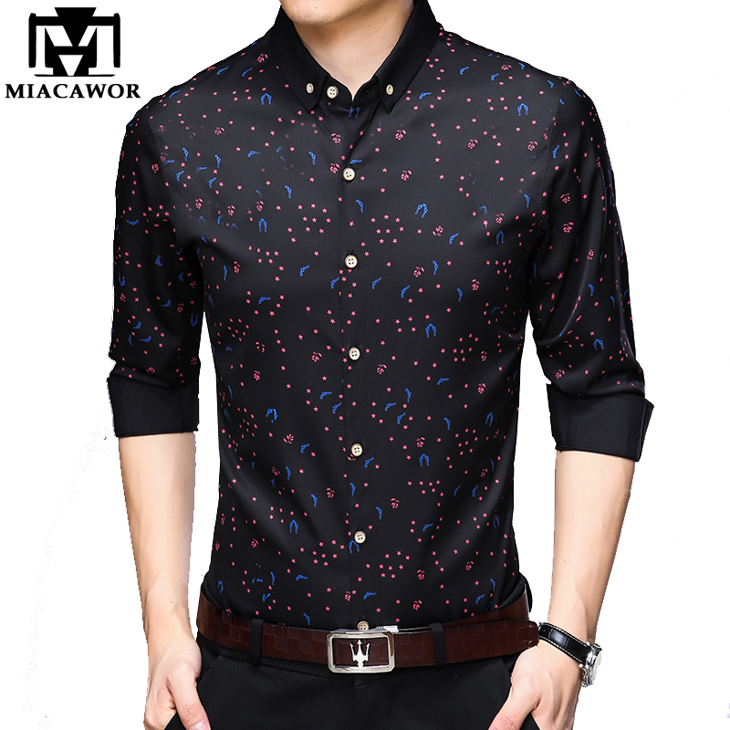 MIACAWOR New Shirt Men Business Casual Shirt Print Long Sleeve Camisa Masculina Slim Fit Chemise Homme Men Clothing C487