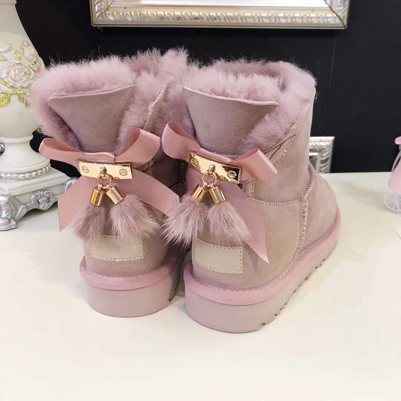 Real Fur 2018 Shoes Women Snow Boots Real Wool Winter Warm Boots Genuine Sheepskin Leather Natural Fur Non Slip Women Boots