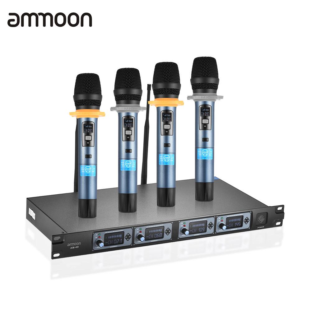 buy ammoon 4d professional 4 channel uhf wireless handheld microphone system 4. Black Bedroom Furniture Sets. Home Design Ideas