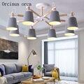 Скандинавский современный минималистичный железный подвесной светильник для гостиной  спальни  лампа креативной личности  цветной потоло...