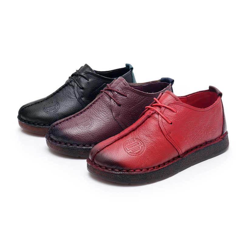 GKTINOO الموضة الرجعية اليد الخياطة أحذية النساء الشقق جلد طبيعي لينة أسفل النساء أحذية لينة مريحة حذاء كاجوال