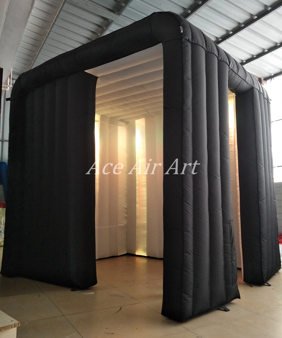 Cube gonflable extérieur et blanc de cabine de photo de logo conçu Durable adapté aux besoins du client avec la porte à côté de la porte - 5