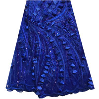 Fashion African Lace Fabric High Quality African 3D Lace Fabric With Sequins For Nigerian Wedding Dress French Lace Fabric F925