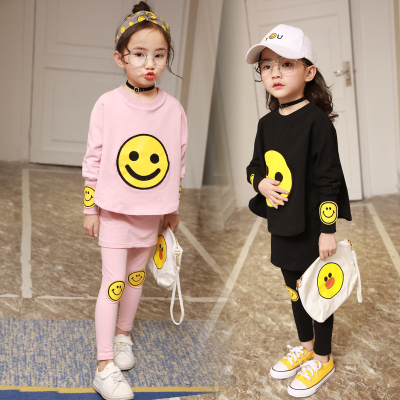 Korean Children's Girl Suit New Pattern Spring And Autumn Children Smiling Long Sweater Culotte Two Pieces Kids Clothing