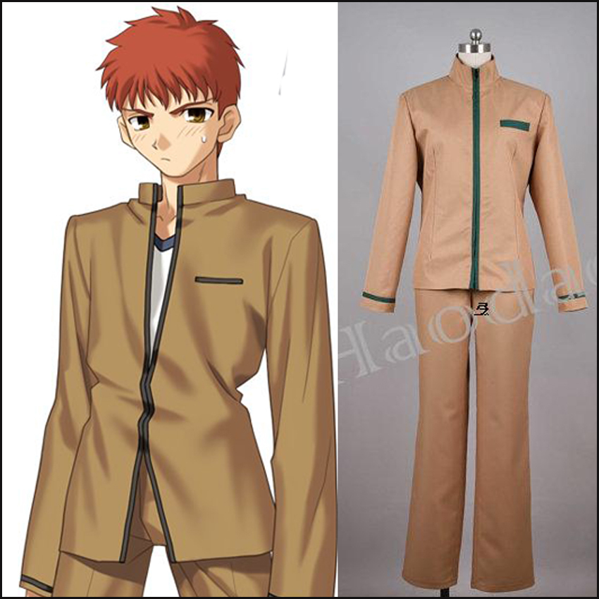 2015 Free Shipping Anime Fate/Stay Night Emiya Shirou Cosplay Costumes Adult Unisex School Uniform Tops+Pants