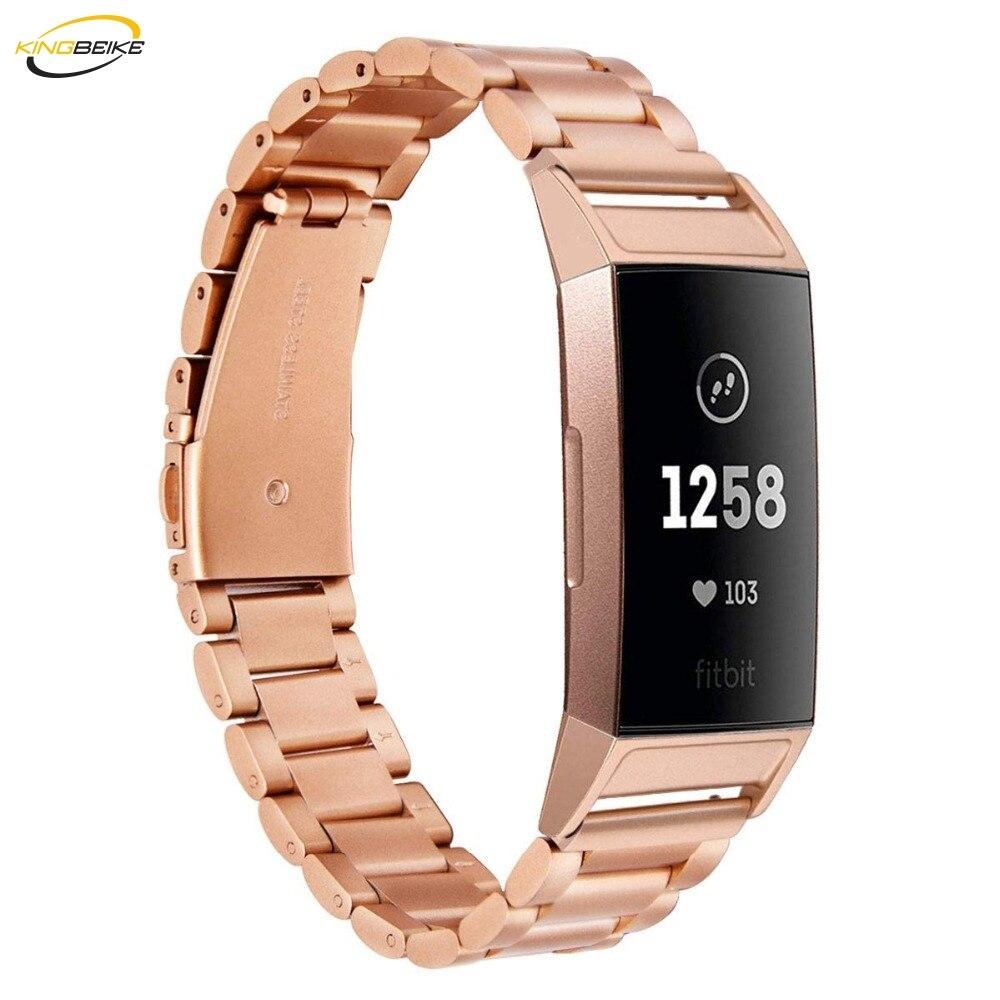 8a12d5931df1 KINGBEIKE 4 colores correa de reloj de acero inoxidable de Metal para  Fitbit Charge3 bandas de reloj ...