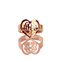 AILIN Custom Monogram Rings Personal Rose Gold Color Heart Ring Initials Monogrammed Rings Love Name Ring For Women 0.59