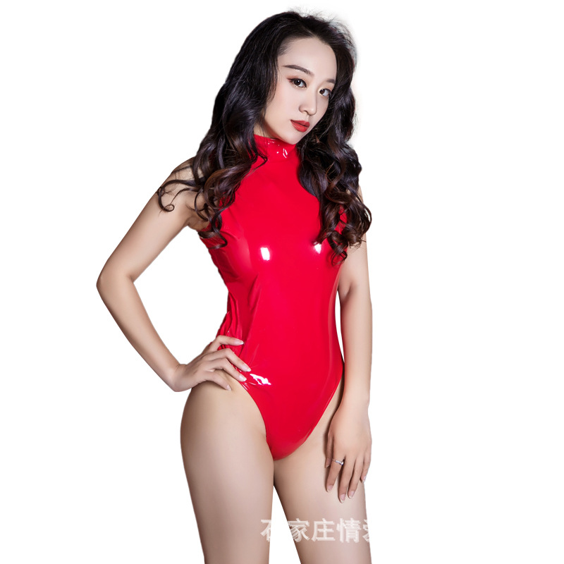 Hot Sale Blue Red Women Sexy Gloosy Faux Leather Latex Swimwear One Pieces Swimsuit Long Sleeve Bondage Catsuit Leotard Lingerie Luggage & Bags