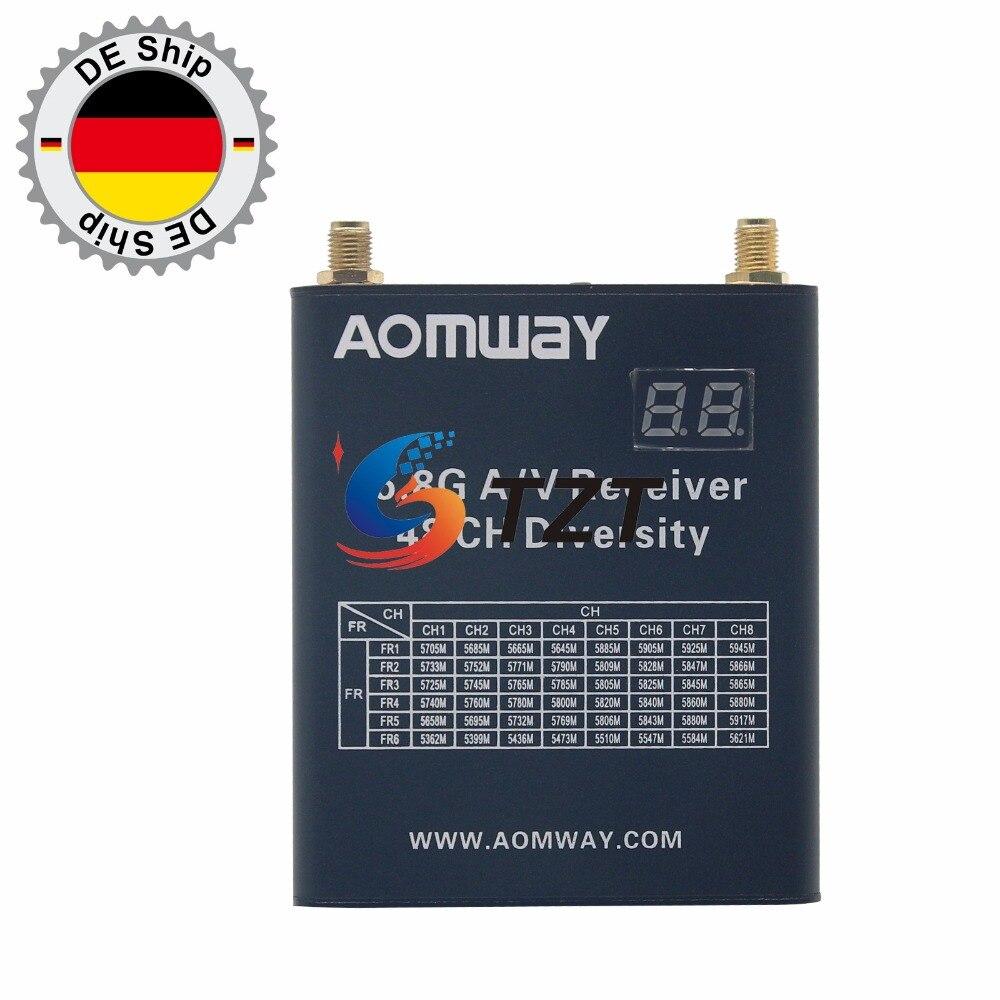 5.8G AV Receiver 48 CH FPV Telemetry Diversity DVR +AOMWAY 5.8G 32CH 1000mw TX Transmitter Camera Kit EU Stock fpv5802 5 8g 200mw av sender transmitter fox r58 receiver set for fpv telemetry system 20739