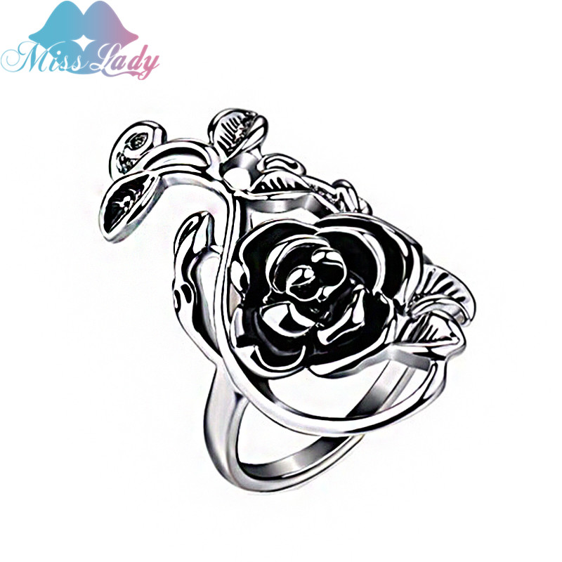 Miss Lady Rose Leaves Retro Thai silver ring Luxury Exaggerated Rhinestone Silver for woman  Vintage Rings MLYS6008
