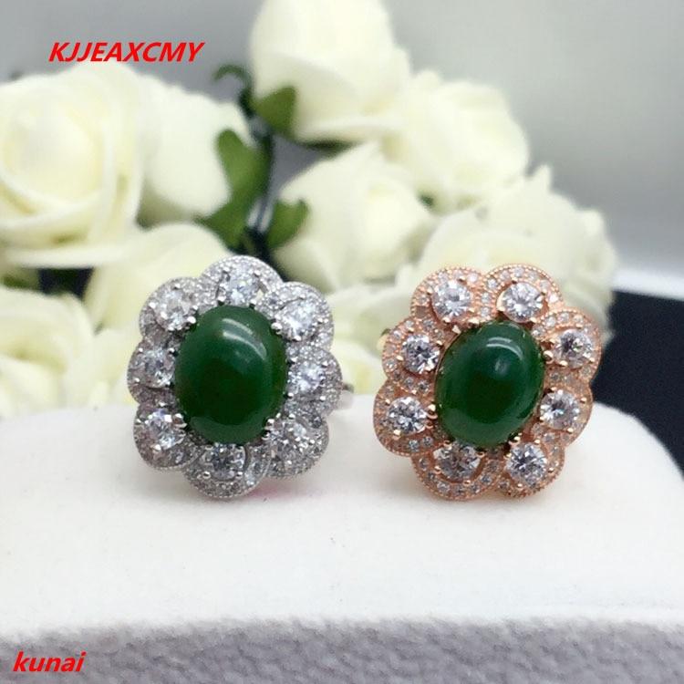 KJJEAXCMY fine jewelry 925 silver inlaid natural jade ring jewelry gkhKJJEAXCMY fine jewelry 925 silver inlaid natural jade ring jewelry gkh