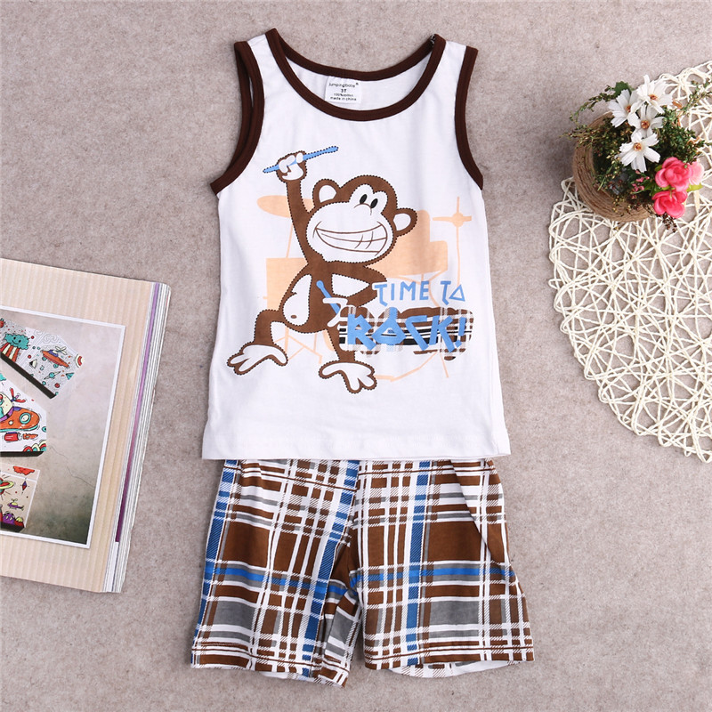Toddler Baby Kids Boys Summer Clothes Monkey Print Vest Sleeveless Tops Shirt With Striped Pants Outfits Set Size 1t-7t Mother & Kids