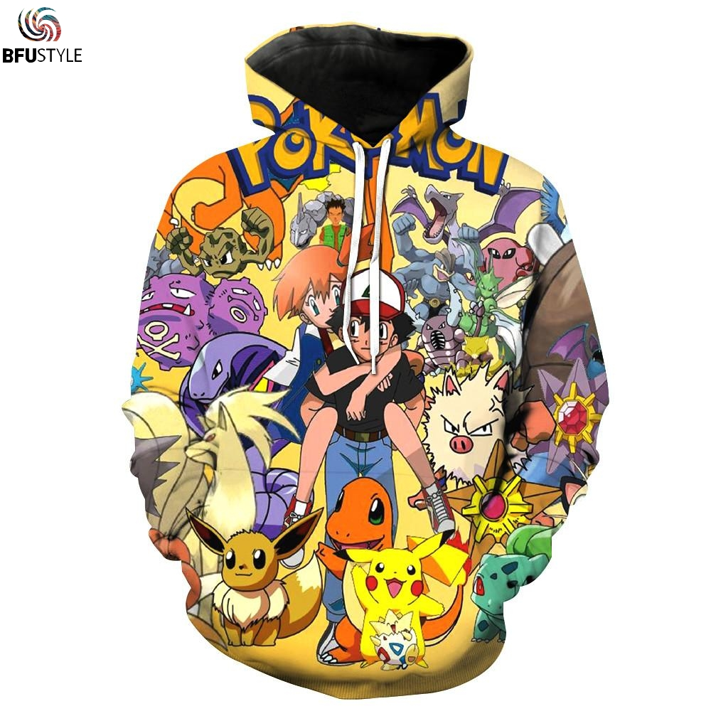 Ash Misty Pokemon Hoodie 2017 Long Sleeve Autumn WInter Outwear Jacket Casual Hip Hop Brand hoody Hooded Dropship