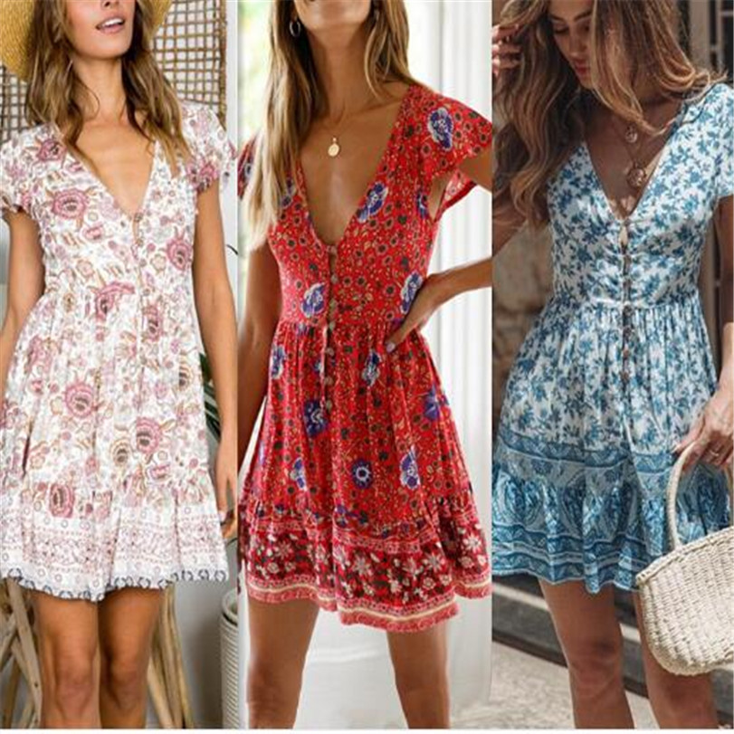Women Sexy Floral Sleeveless mini Dress Ladies zipper button bohe Sundress Printing v-neck summer spring Beach Dresses