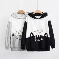 Japanese mori girl fall new cute cat matching Hooded sweatshirt, schoolgirl long sleeved fleece pullovers ,young girl clothes
