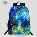 FEIHENG Brand 2016 Polyester 16 Inch Printing Rainbow Chinese Style Teenager Bookbag Kids Baby School Bags Children Backpack Boy