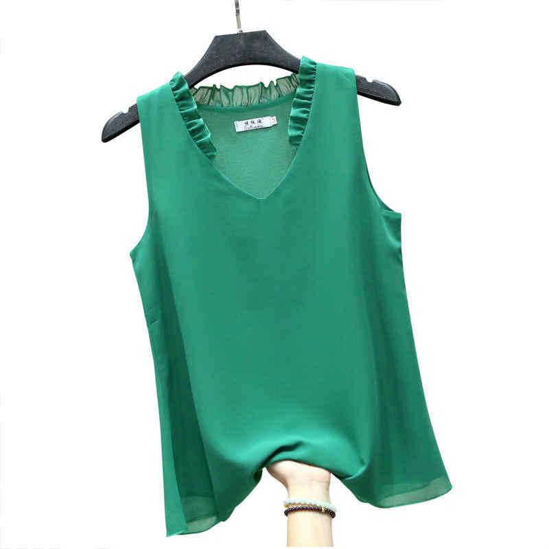 5XL mujeres Tops y blusa de verano Casual sin mangas Blusa de gasa Mujer talla grande señora Tops Streetwear blusa suelta mujeres Q1380