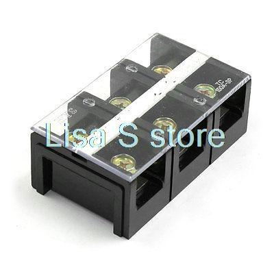 150A 600V 3 Position Clear Covered Screw Terminal Barrier Block
