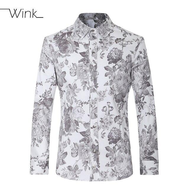 47884614cfcb Casual Shirts Men Cotton Slim Fit Long Sleeve Designer Floral Clothes  Stylish Big Size 5XL Fashion