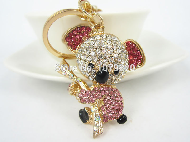 CH Koala Car  Keyring Cute Rhinestone Crystal Charm Pendant Key Bag Chain Gift  New Fashion  Free shipping