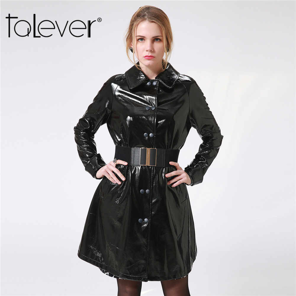 30fe37f7fa3 2017 New Autumn Long Black Streetwear PU Women s Windbreaker Winter Female  Turn-down Collar Solid