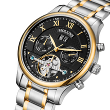 ホットドロップ配送スケルトントゥールビヨン機械式腕時計メンズ自動ローズゴールドフル鋼機械式腕時計リロイ Hombre