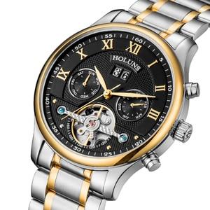 Image 1 - ホットドロップ配送スケルトントゥールビヨン機械式腕時計メンズ自動ローズゴールドフル鋼機械式腕時計リロイ Hombre