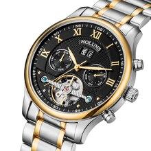 Sıcak Drop Shipping Iskelet Tourbillon Mekanik İzle Erkekler Otomatik Gül Altın tam Çelik Mekanik Bilek Saatler Reloj Hombre