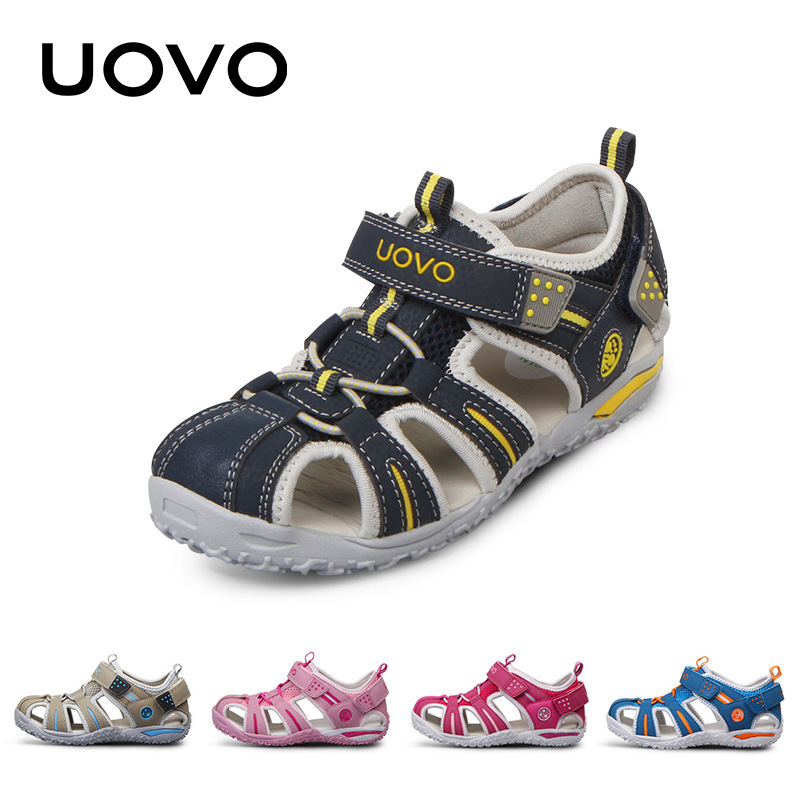 UOVO العلامة التجارية الصيف شاطئ أحذية أطفال الصنادل مغلقة اصبع القدم للبنين والبنات الصنادل طفل رضيع مصمم للأطفال من 4 - 15 سنة
