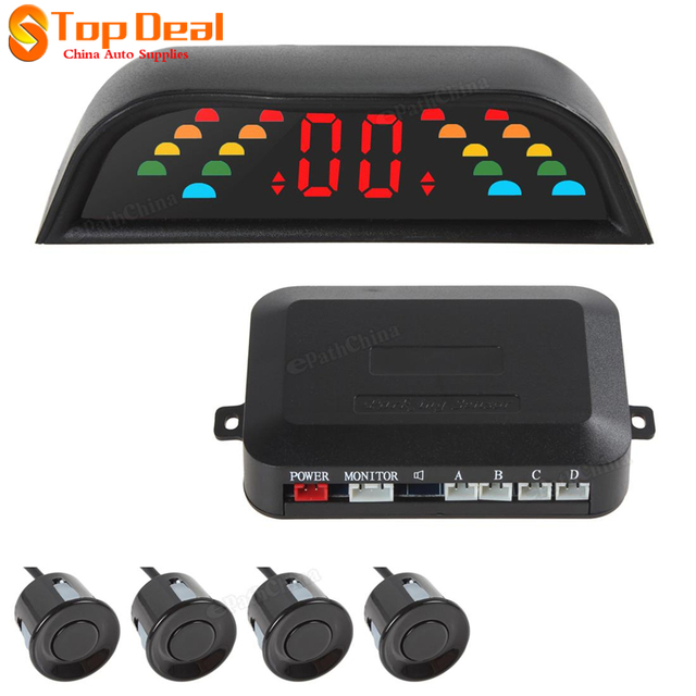 4 Paking Sensor Kit Veichle Reversing Parking Radar Digital LED Vehicle Parking Assistance System with Car Cigarette Lighter