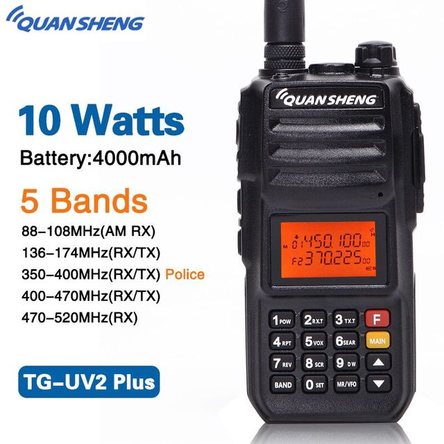 Quansheng TG-UV2 PLUS Powerful 10W 5 BandS 136-174MHz/Police band 350-390MH/400-470MHz 4000mAh 10KM Range 200CH Walkie Talkie