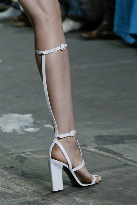 Big Size Gladiator Bandage Sandals White Black Knee High