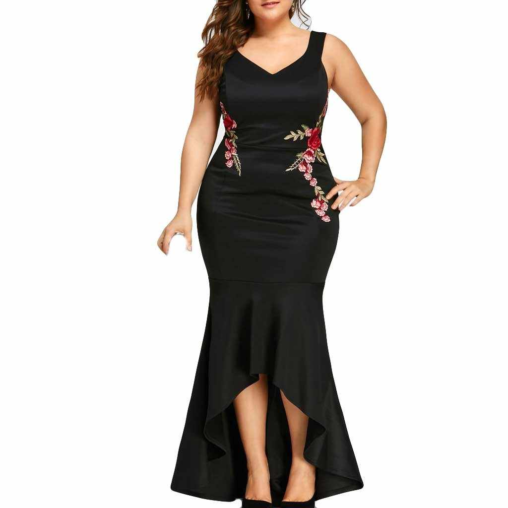 Women Summer Dress 2019 Casual Women Plus Size Embroidery Party Dress V Neck Sleeveless Solid Color Long Dress  Vestido Elegant