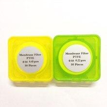 Microporous Filter Membranes PTFE Diameter 47mm / 50mm / 60mm Hydrophilic PTFE Micro Membrane Filter JIN TENG BRAND 50pcs/pk 50pcs lot 0 45 or 0 22um 150mm ptfe membrane millipore nylon membrane for solvent oil acetate cellulose membrane