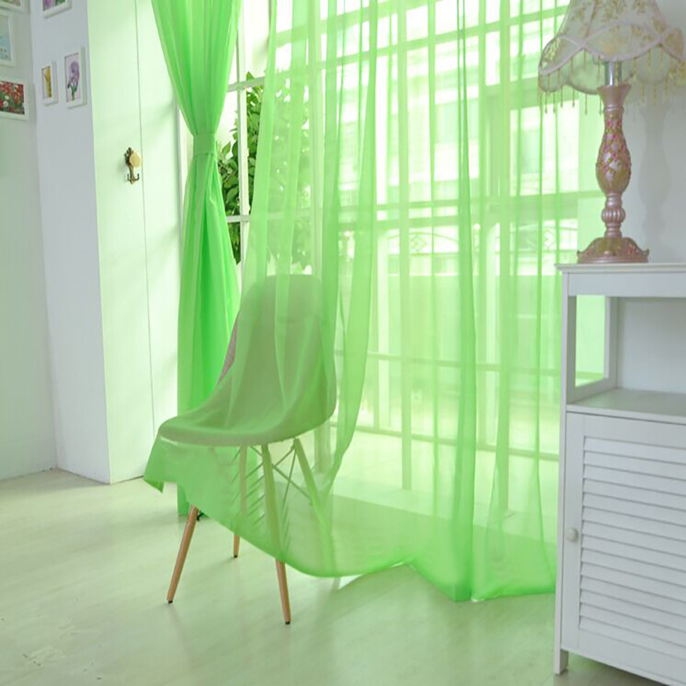 Hot Sale Curtain Pure Color Tulle Door Window Curtain Drape Panel Sheer Scarf Valances Modern Bedroom Living Room Curtain Green