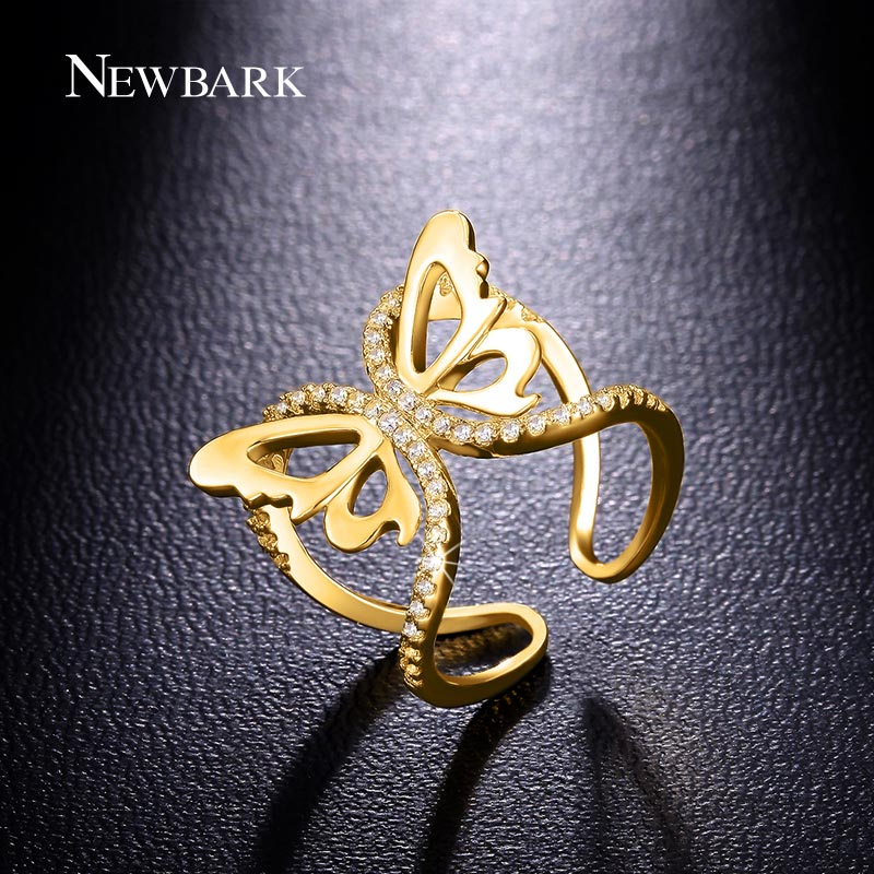 NEWBARK Lovely Vivid Butterfly Ring Zirconia Stone Paved Rose Gold Color Open Rings Cute Christmas Gifts For Women And Girls