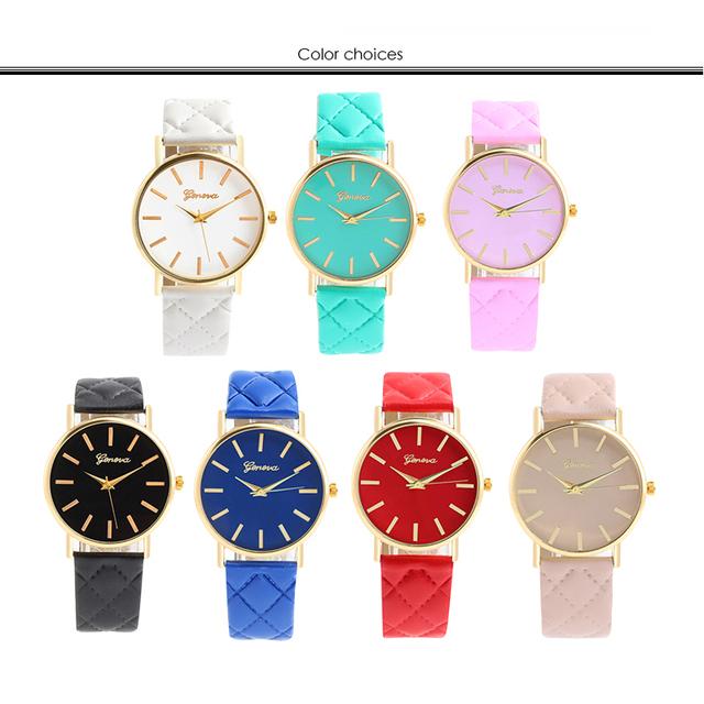 9d5ce693b New women Checkers Faux lady dress watch women's Casual Leather quartz-watch  sports wristwatch Gifts relogios feminino 7 colour - 14xpress Online  Shopping ...