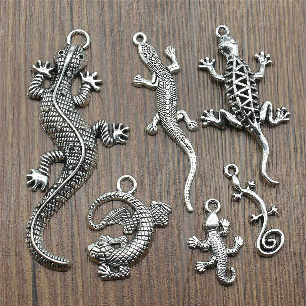 Mix Charm Pendants For Bracelets Chameleon Charm Gecko Antique Silver Color Lizard Charm Wholesale