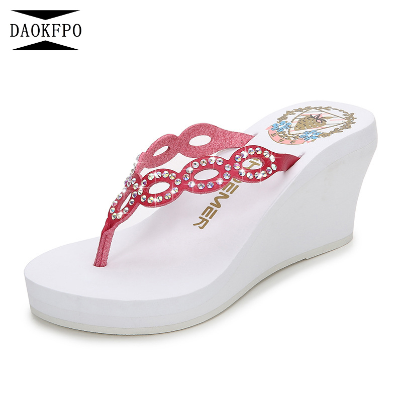 bf0cd548f6530 JOYHOPY Bling Wedge Platform Shoes Woman Slipper Women High Heels ...