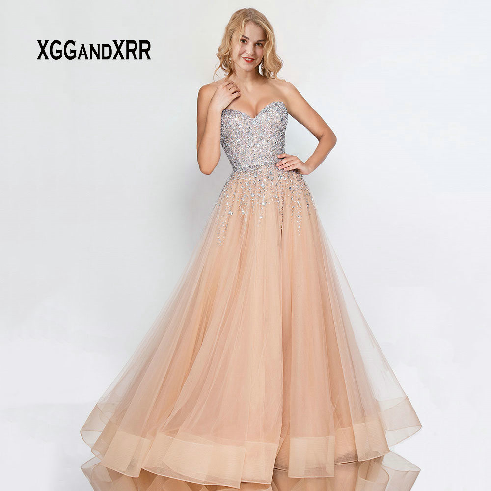 Luxury   Prom     Dress   2019 Long Tulle   Dress   Beading Crystal Champagne vestidos de gala Sweetheart Off Shoulder Sexy Backless Party
