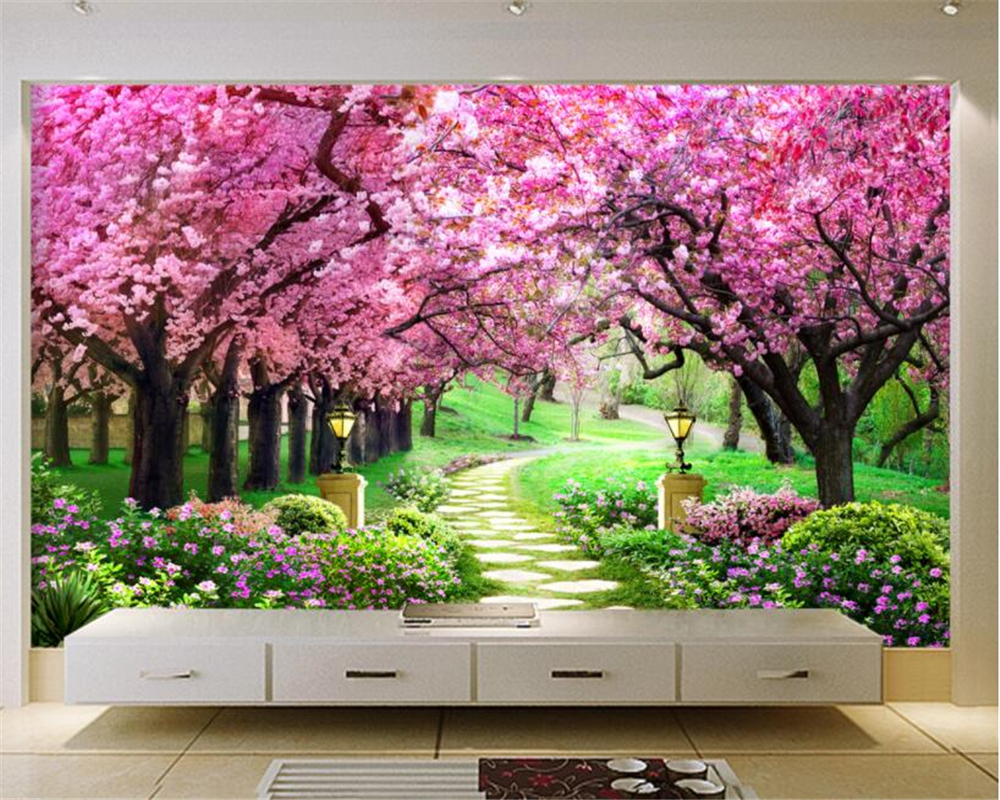 3D Wallpaper Mural Fashion 3d European Cherry Tree Garden