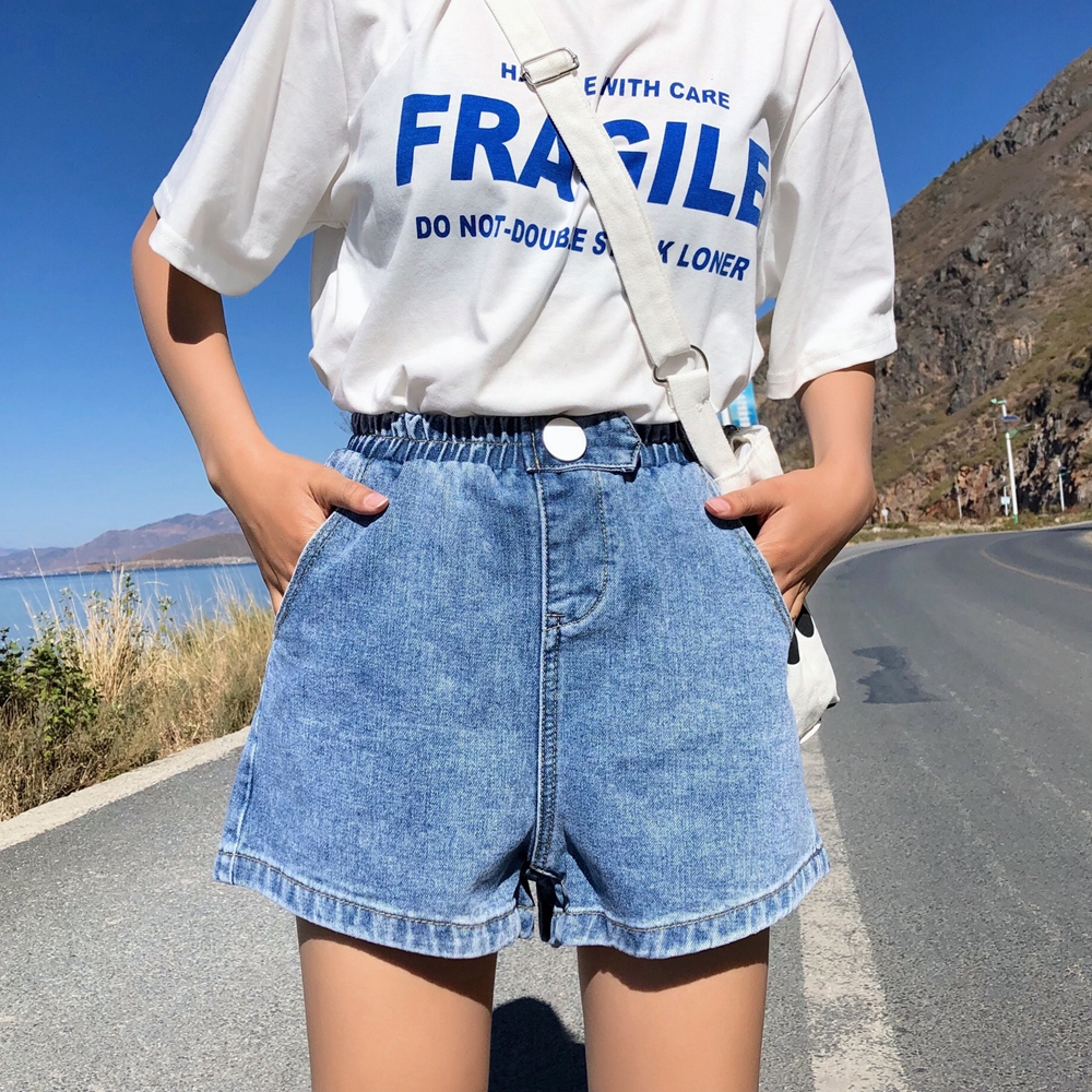 S-XL 4Colors 2019 summer korean style loose pocket elastic high waist denim   shorts   jeans womens wide lege   shorts   womens (Z6280)