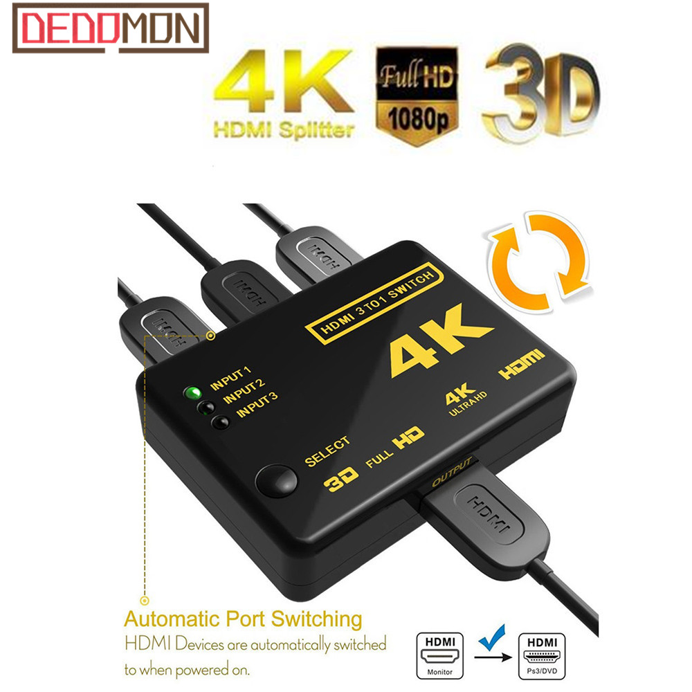 HDMI Switch 3 Port 4K*2K Switcher Splitter Box Ultra HD For DVD HDTV For Xbox For PS3 PS4