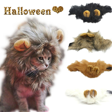 Cute Pet Cat Costume Cosplay Lion Mane Wig Cap Hat for Cat Halloween Xmas Winter Clothes Fancy Dress with Ears Wholesale 20JE7