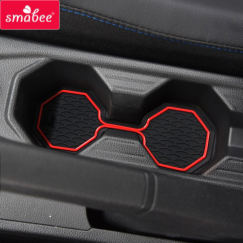 Smabee Car Gate Slot Mat For Volkswagen Polo 2018 2019 Polo Interior Anti-Slip Slot Mat Accessories Rubber Cup Holders Coaster