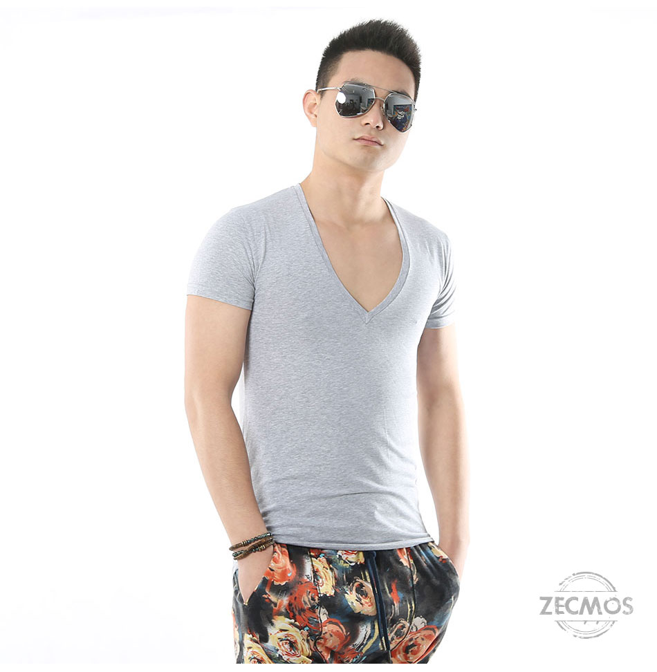 Zecmos Deep V Neck Sexy Men T-Shirt Vintage Short Sleeve Solid Color Muscle Fit T Shirt Men Top Tees Fashion 8