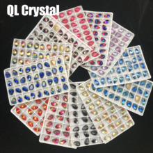 Tourmaline rhinestone pear Glass Crystal 10x14mm teardrop Pointback crystal Stone accessories for shoes jewelry
