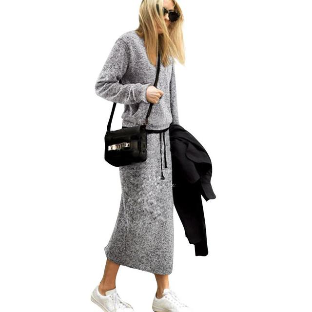 Women Winter Outfits Causal Homewear 2 Piece O-Neck Long Sleeve Thick Tops + Loose Skirt Set Autumn Dress Set WS978X