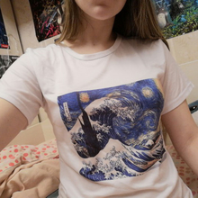 Harajuku Vincent Van Gogh The Starry Night Ukiyo-e Print T-shirt Aesthetic Creative Tee Tops Women Japanese Style Wave Tshirts